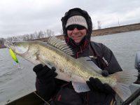 Рыбак держит судака