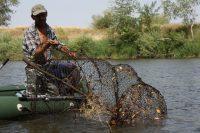 Рыбак достает сеть